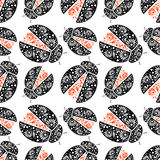 Seamless vector pattern with insects, Chaotic background with bright decorative black and red closeup ladybugs,. Over white backdrop. Series of Animals and vector illustration