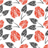 Seamless vector pattern with insects, chaotic background with bright decorative red closeup ladybugs and black leaves, Stock Images