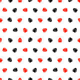 Seamless vector pattern with insects, chaotic background with bright red and black decorative ladybugs,  on the white backdrop. Series of Animals and Insects Stock Images