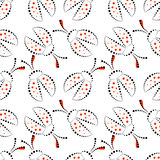 Seamless vector pattern with insects, chaotic black, red and white background with decorative closeup ladybugs,  on the blue backd Royalty Free Stock Images
