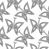 Seamless vector pattern with insects, chaotic black and white background with closeup butterflies Royalty Free Stock Photography