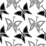 Seamless vector pattern with insects, chaotic black and white background with closeup butterflies Royalty Free Stock Image