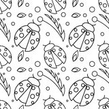 Seamless vector pattern with insects, chaotic black and white background with ladybugs and leaves on the white backdrop Royalty Free Stock Image