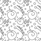 Seamless vector pattern with insects, chaotic black and white background with snails, leaves and dots Stock Image