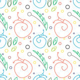 Seamless vector pattern with insects, chaotic colorful background with snails, leaves and dots Royalty Free Stock Photography