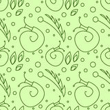 Seamless vector pattern with insects, chaotic green background with snails, leaves and dots Royalty Free Stock Images