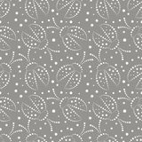 Seamless vector pattern with insects, chaotic grey and white background with decorative closeup ladybugs and dots, Royalty Free Stock Images