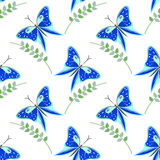 Seamless vector pattern with insects, colorful background with blue butterflies and branches with leaves om the white backdrop Royalty Free Stock Images