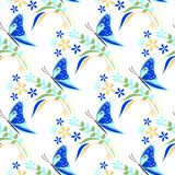 Seamless vector pattern with insects, colorful background with blue butterflies, flowers and branches with leaves Royalty Free Stock Images