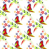 Seamless vector pattern with insects, colorful background with butterflies, flowers and branches with leaves Stock Photo