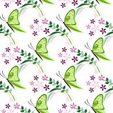 Seamless vector pattern with insects, colorful background with green butterflies, flowers and branches with leaves Stock Photo