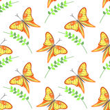 Seamless vector pattern with insects, colorful background with violet butterflies and branches with leaves om the white backdrop Stock Photo