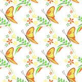Seamless vector pattern with insects, colorful background with violet butterflies, flowers and branches with leaves Royalty Free Stock Photography