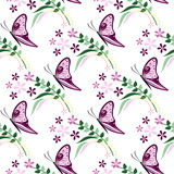 Seamless vector pattern with insects, colorful background with violet butterflies, flowers and branches with leaves Stock Images