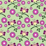 Seamless vector pattern with insects, cute background with butterflies, flowers and branch with leaves. Royalty Free Stock Images