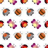 Seamless vector pattern with insects. Cute background with colorful comic butterflies, ladybugs, colorado beetles and bees. Stock Photos