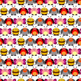 Seamless vector pattern with insects. Cute background with colorful comic butterflies, ladybugs, colorado beetles and bees Stock Photo