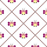 Seamless vector pattern with insects, cute background with comic butterflies Royalty Free Stock Photo