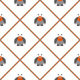 Seamless vector pattern with insects, cute background with comic colorado beetle. Royalty Free Stock Photography