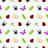 Seamless vector pattern with insects, cute colorful background with spiders, ladybugs, caterpillars and butterflies Stock Photos