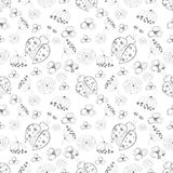 Seamless vector pattern with insects. Cute hand drawn background with ladybugs and flowers on the white backdrop. Royalty Free Stock Photography