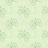 Seamless vector pattern with insects, green pastel background with butterflies and dots Royalty Free Stock Images