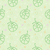 Seamless vector pattern with insects, green pastel background with snails and dots Stock Photos