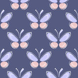 Seamless vector pattern with insects, symmetrical background with blue and pink butterflies on the blue backdrop. Decorative ornament. Series of Insects Royalty Free Stock Images