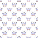 Seamless vector pattern with insects, symmetrical background with blue and pink butterflies on the white backdrop. Decorative ornament. Series of Insects Royalty Free Stock Photography