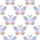 Seamless vector pattern with insects, symmetrical background with blue and pink butterflies on the white backdrop. Decorative orna. Ment. Series of Insects Stock Photos