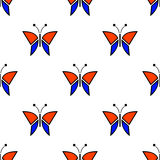 Seamless vector pattern with insects, symmetrical background with blue and red butterflies. Decorative repeating ornament Stock Photos