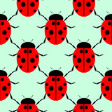 Seamless vector pattern with insects, symmetrical background with bright close-up ladybugs, over light green backdrop Stock Photo
