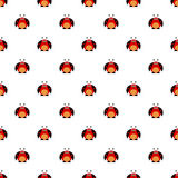 Seamless vector pattern with insects, symmetrical background with bright cute comic ladybugs, on the white backdrop Stock Photo