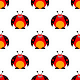 Seamless vector pattern with insects, symmetrical background with bright cute comic ladybugs, Stock Photos
