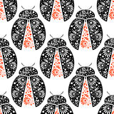 Seamless vector pattern with insects, symmetrical background with bright decorative black and red closeup ladybugs, over white bac. Kdrop. Series of Animals and vector illustration