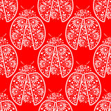 Seamless vector pattern with insects, symmetrical background with bright decorative red closeup ladybugs, over white backdrop Royalty Free Stock Images