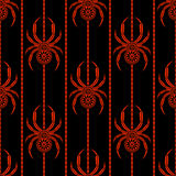 Seamless vector pattern with insects, symmetrical background with bright decorative red closeup spiders, over black backdrop with Royalty Free Stock Photos