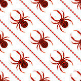 Seamless vector pattern with insects, symmetrical background with bright decorative red closeup spiders, over white backdrop with Royalty Free Stock Photography