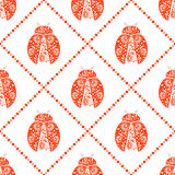 Seamless vector pattern with insects, symmetrical background with bright decorative red ladybugs, over white backdrop Stock Image