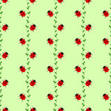 Seamless vector pattern with insects, symmetrical background with bright little ladybugs and branches with leaves, on the green ba Stock Photography