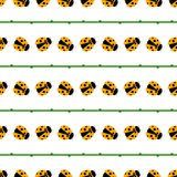 Seamless vector pattern with insects, symmetrical background with bright little ladybugs and branches, on the white backdrop Stock Photography