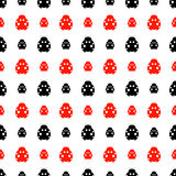 Seamless vector pattern with insects, symmetrical background with bright red and black decorative ladybugs,  on the white backdrop. Series of Animals and Stock Photo
