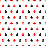 Seamless vector pattern with insects, symmetrical background with bright red and black decorative ladybugs. On the white backdrop. Series of Animals and Royalty Free Stock Photo
