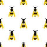 Seamless vector pattern with insects, symmetrical background with closeup yellow wasps on the light backdrop Stock Photography