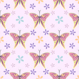 Seamless vector pattern with insects, symmetrical background with colorful butterflies and flowers over light backdrop.  royalty free illustration