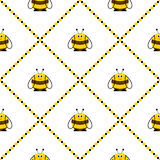 Seamless vector pattern with insects. Symmetrical background with cute comic bees on the white backdrop with rhombus Royalty Free Stock Photo