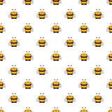 Seamless vector pattern with insects. Symmetrical background with cute comic bees on the white backdrop Stock Image