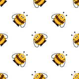 Seamless vector pattern with insects. Symmetrical background with cute comic bees on the white backdrop. Series of Animals and Insects Seamless Patterns Royalty Free Stock Image