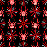 Seamless vector pattern with insects, symmetrical background with decorative black closeup spiders, over black backdrop with red s Royalty Free Stock Photo