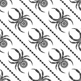 Seamless vector pattern with insects, symmetrical background with decorative black closeup spiders, Royalty Free Stock Images